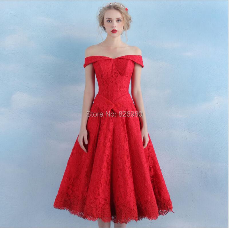 Wholesale 2016 New Bride Evening Dress Vintage Shoulder: Real Picture Vintage Tea Length Lace Off The Shoulder Red