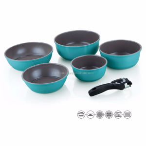 Removable handle camping inventions sets aluminum mini cooking pots with frying pan detachable handle nonstick cookware