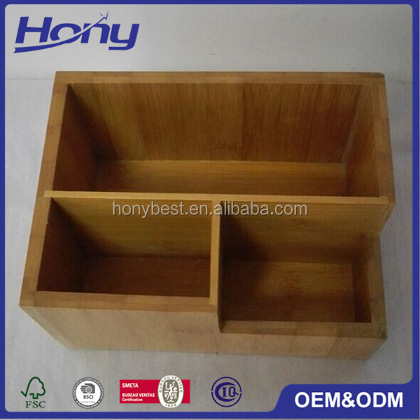 Eco-friendly Stocked Table Bamboo Wood Cosmetic Makeup Organizer with Dividers