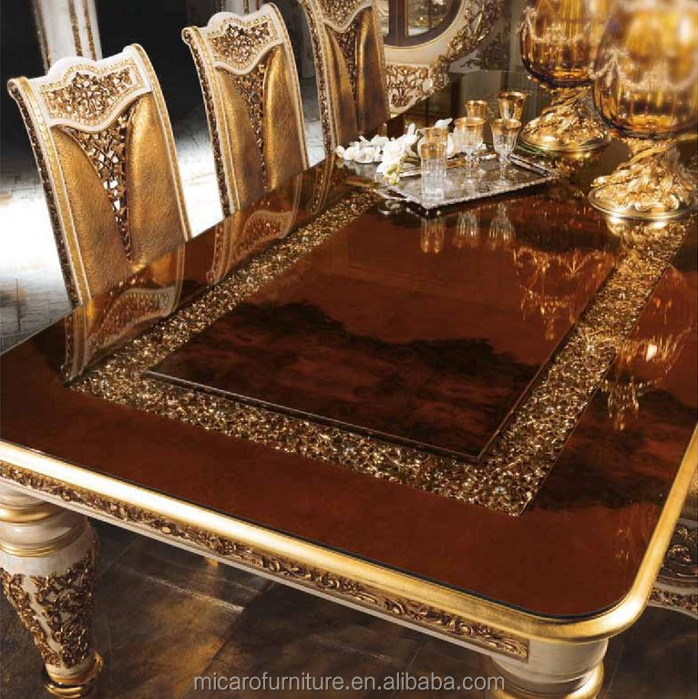 Complete Eetkamer Set.2016 New Design Baroque Style Brass And Wood Solid Wood Classic