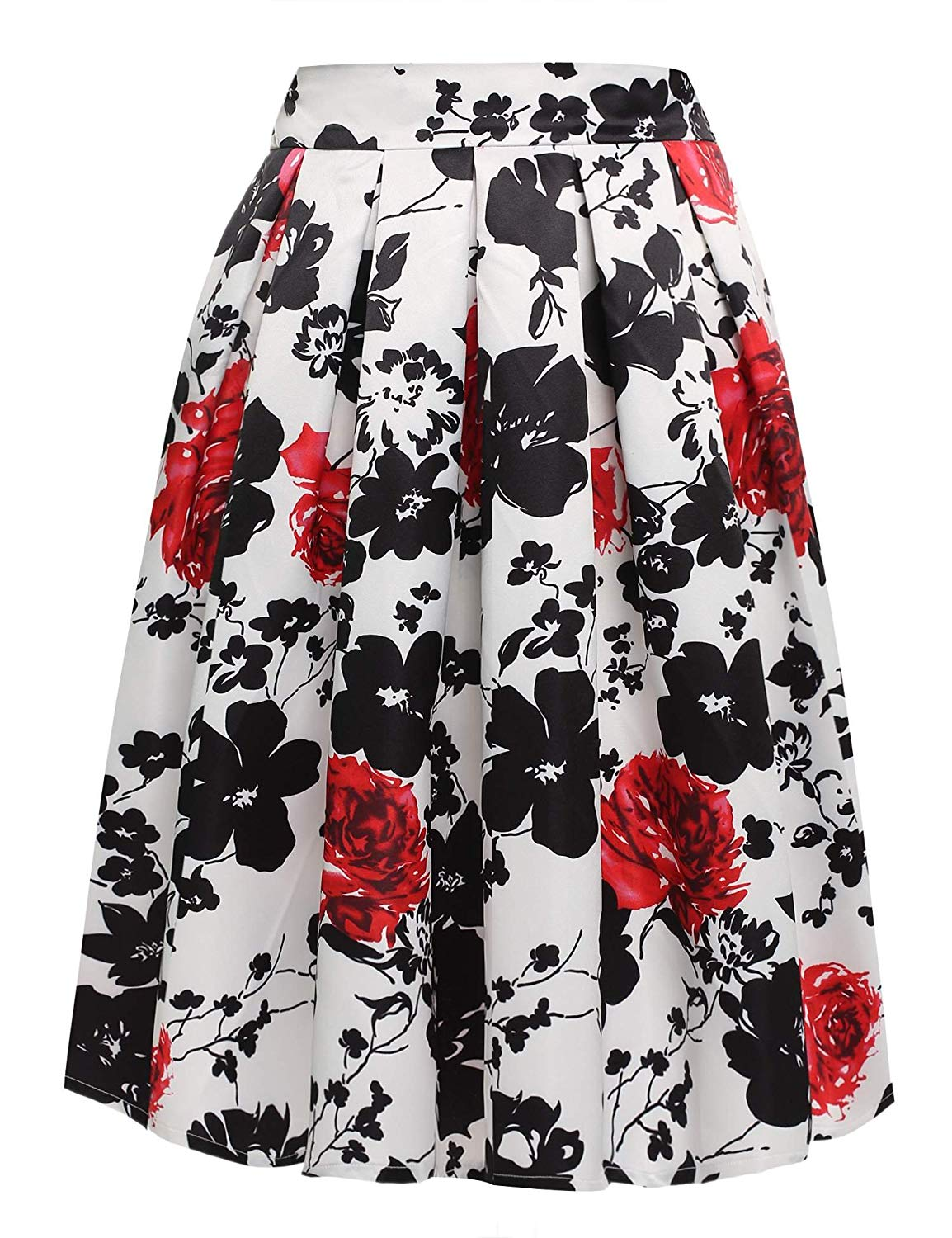 f4300e5fd Get Quotations · ACEVOG Women's Floral Print Skater Midi Skirt With Pleat  A-Line Flared Skirt Dress