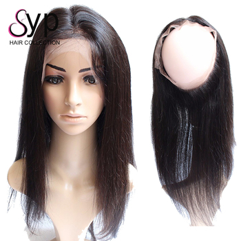 360 Lace Frontal Closure Wig, Straight Brazilian Hair Piece Swiss Lace Frontal with Bundles for Full Head Extensions 2019