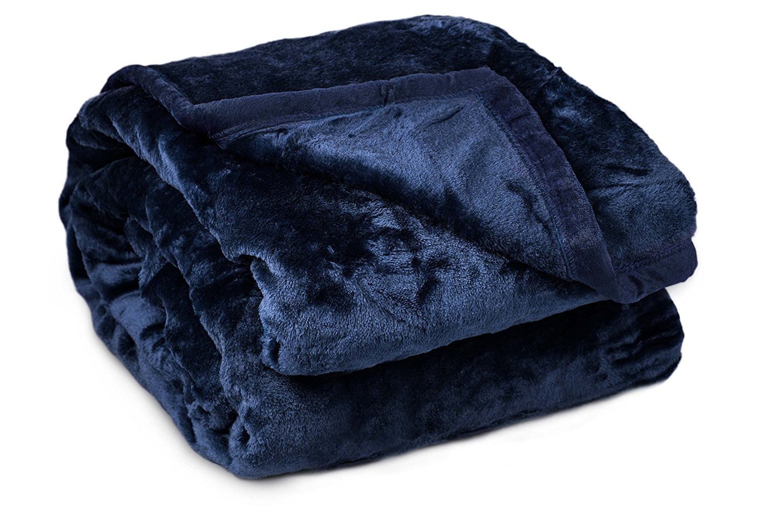 Archangel 2 Ply Queen Solid Mink Blanket - Navy Blue