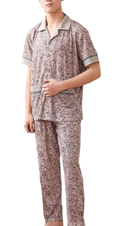 Smeiling Men Stripe Pajamas Set Button Down Shirt and Long Pajamas Pants 2 Piece