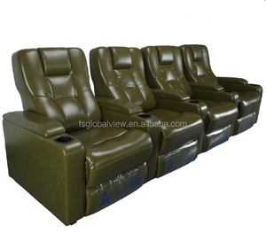 Vintage style designer furniture green modern leather sofa home theatre seating
