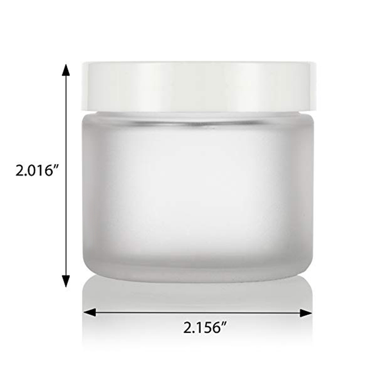 2 OZ Frosted Clear Glass Straight Sided Jars with White Foam Lined Lids