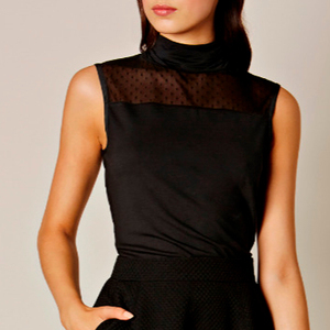 Women black tulle lace high neck office blouse