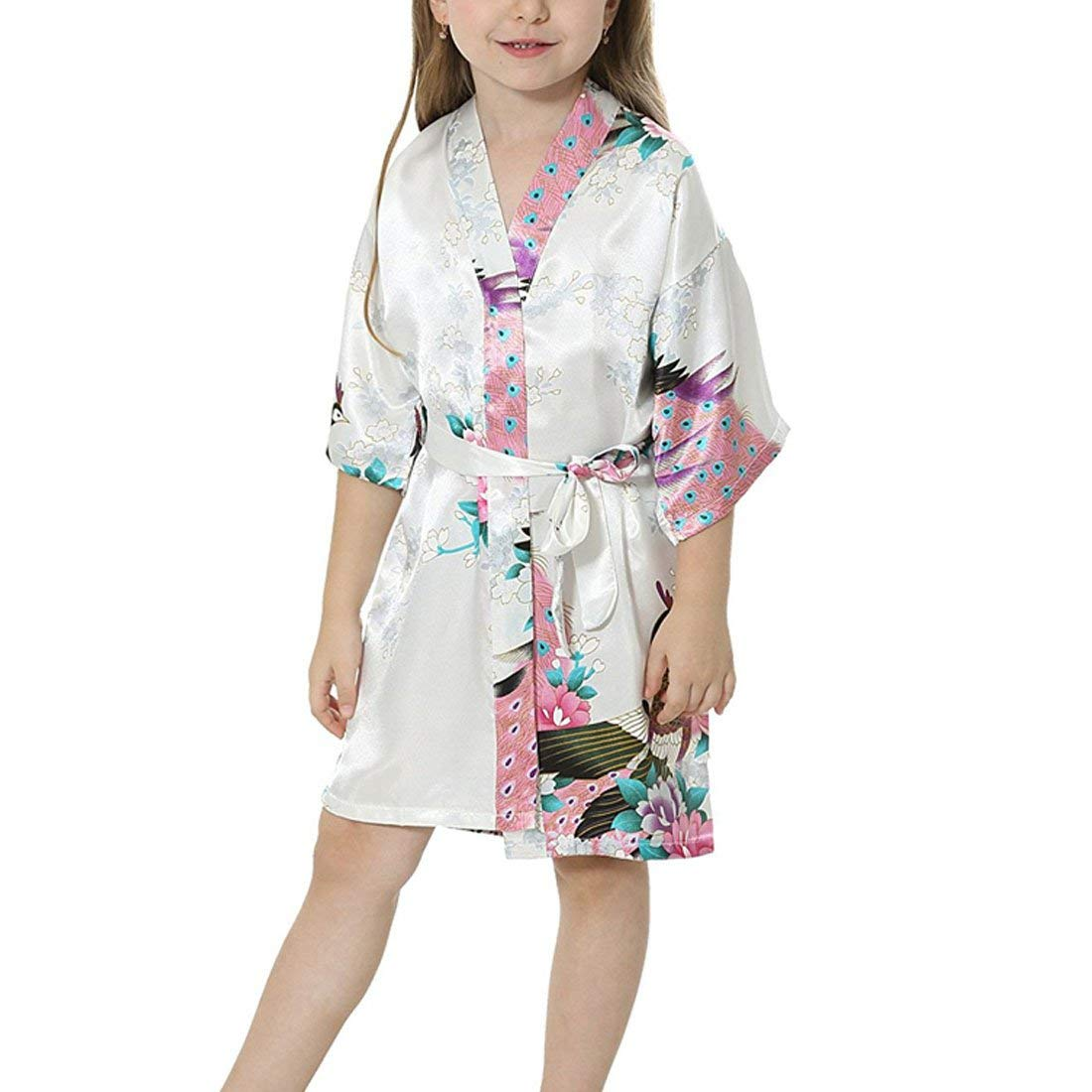 Get Quotations · Uther Girls Stain Kimono Peacock Flower Robe for Spa Party  Wedding Birthday b8bd1d263