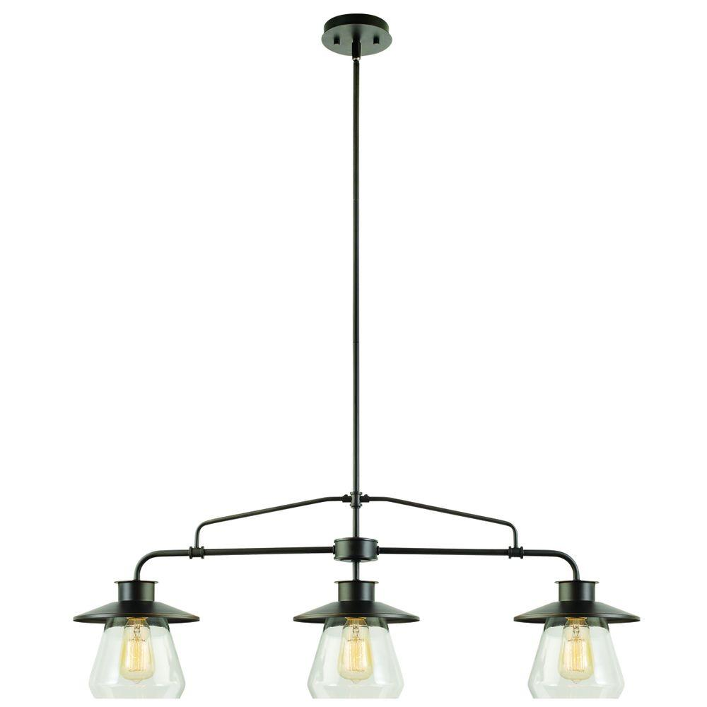 Globe Electric S 3 Light Vintage Pendant With The Clear Gl Shades In Rustic Feel For Kitchens Restaurants Bars Chandelier