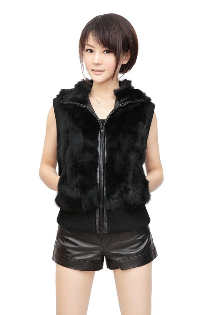 Queenshiny Women's 100% Real Rex Rabbit Fur Vest with Knitting and Leather Placket