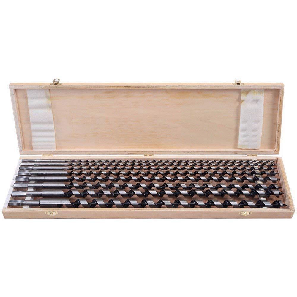 "(KS) Set of 8pc New 24"" Auger Drill Bit Extra Long Wood Drills With Wood Case - sizes 1/4"", 5/16"", 3/8"", 15/32"", 9/16"", 5/8"", 11/16"", 25/32"""