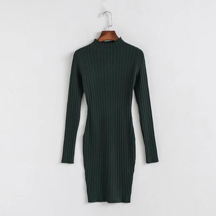 2018 Pakaian Wanita Lengan Panjang Turtleneck Pullover Mode Sweater Knit Dress