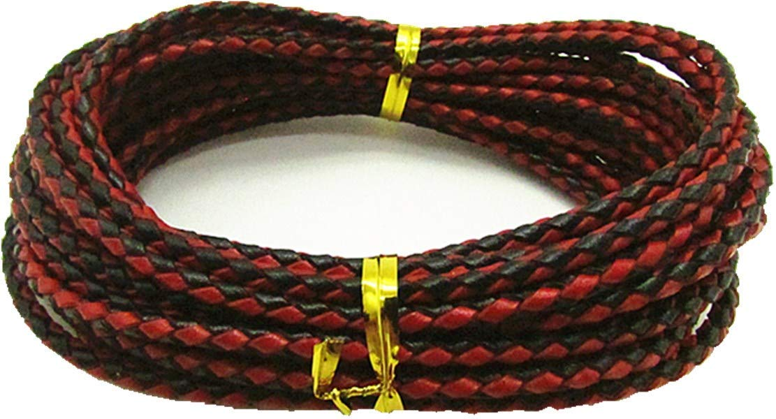 3.0mm Braided Leather Cord Round Braided Leather Cord Leather Working Cord String Cord 5Meter (Black/red)