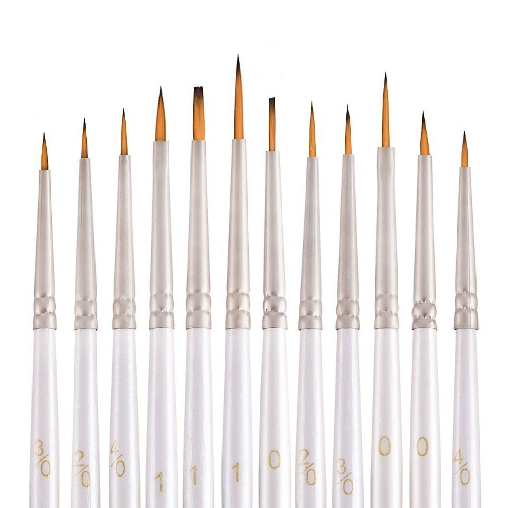 STARVAST 12 Pieces Detail Paint Brush Set Miniature Artist Painting Brushes for Fine Detailing, Acrylic, Face & Rock Painting, Oil Painting, Watercolor, Models, DIY Airplane Kits, Nail (White)