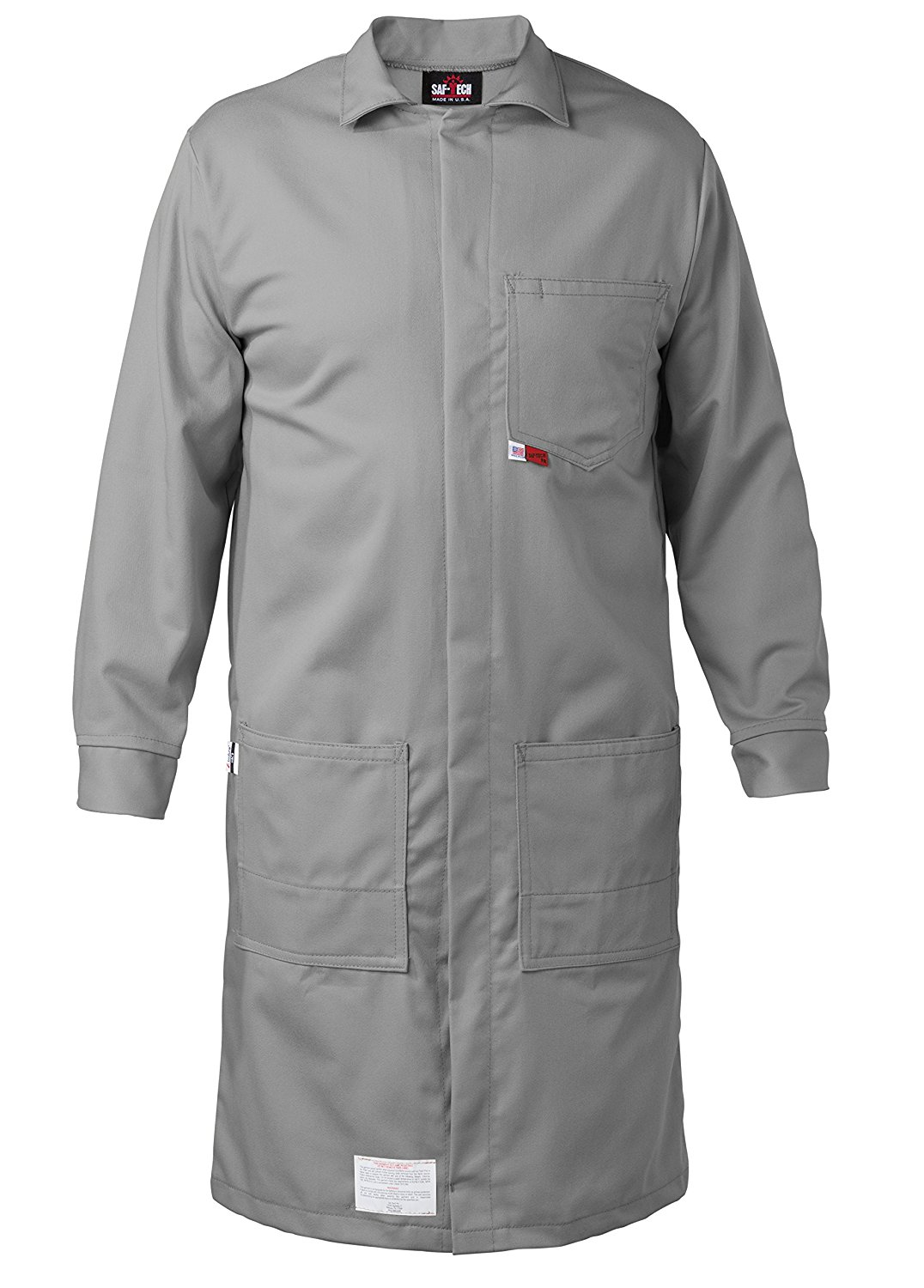 GRAY - X-LARGE - FR LAB COAT - 6oz. NOMEX III3 Flame Resistant Fabric - Lab or Classroom Ready - HRC 1 - APTV= 5.7 cal/m2 - MADE IN THE U.S.A.