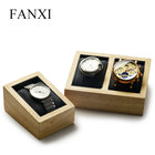 FANXI Factory Original Design Accept Custom Logo Solid Wood Microfiber Insert Single Watch or Double Watch Display Stand