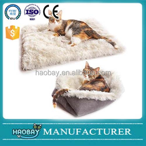 Convertible Furry Pet Bed/Cat Dog Foldable Mat