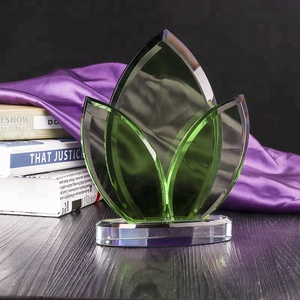 Crystal Personalized Engraving Corporate green Glass Award Plaque Design