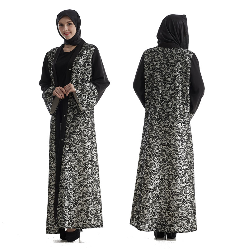 Hot Sale Long Sleeve Front Open Abaya Turkish Lace Maxi Abaya Dress