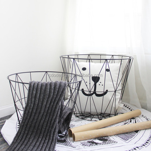 black Iron storage multifunction wire mesh Metal round basket