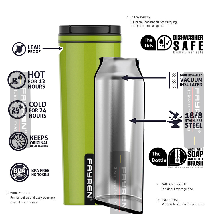 Custom logo thermal insulated vacuum double wall 18 8  stainless steel warmer coffee mug from china