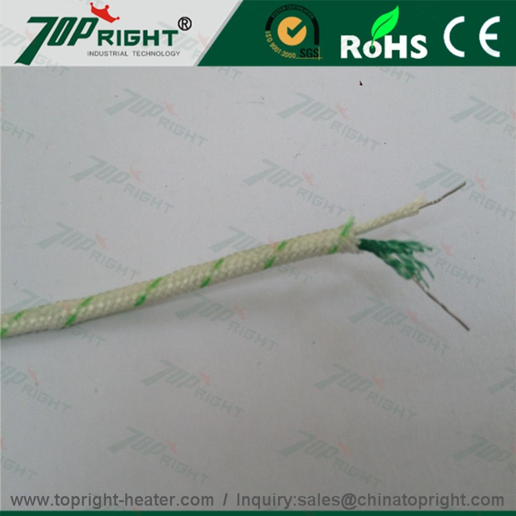 topright Fiberglass sheath Type K stranded thermocouple extension wire