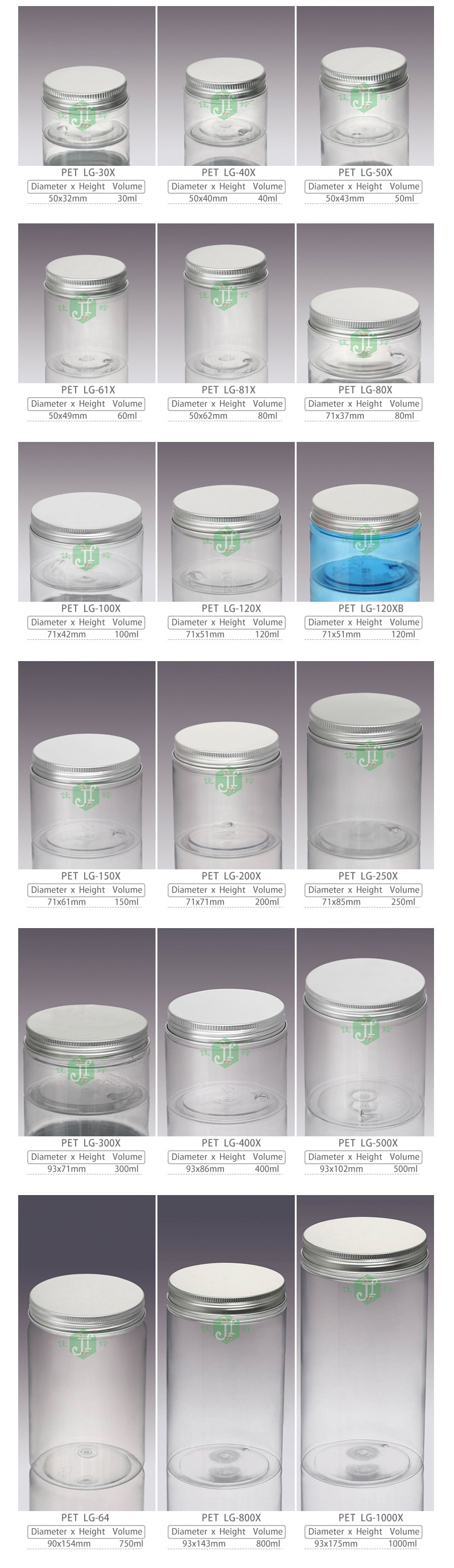 custom size jar sample free sliver aluminium cap 4oz 6oz12oz plastic food jar bpa free transparent pet cosmetics cream empty jar