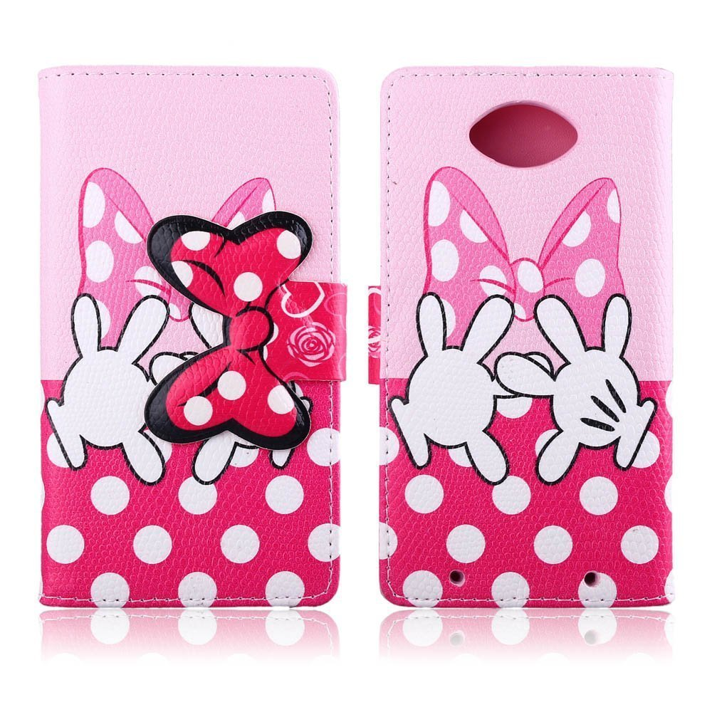 Moto Turbo Case Moto Droid Turbo Kickstand Case,Tribe-Tiger Minnie Mickey Series Premium Leather[Card Slot][Flip][Stand][Wallet]Cover Case for Motorola Moto Droid Turbo XT1254(Pink Palms)
