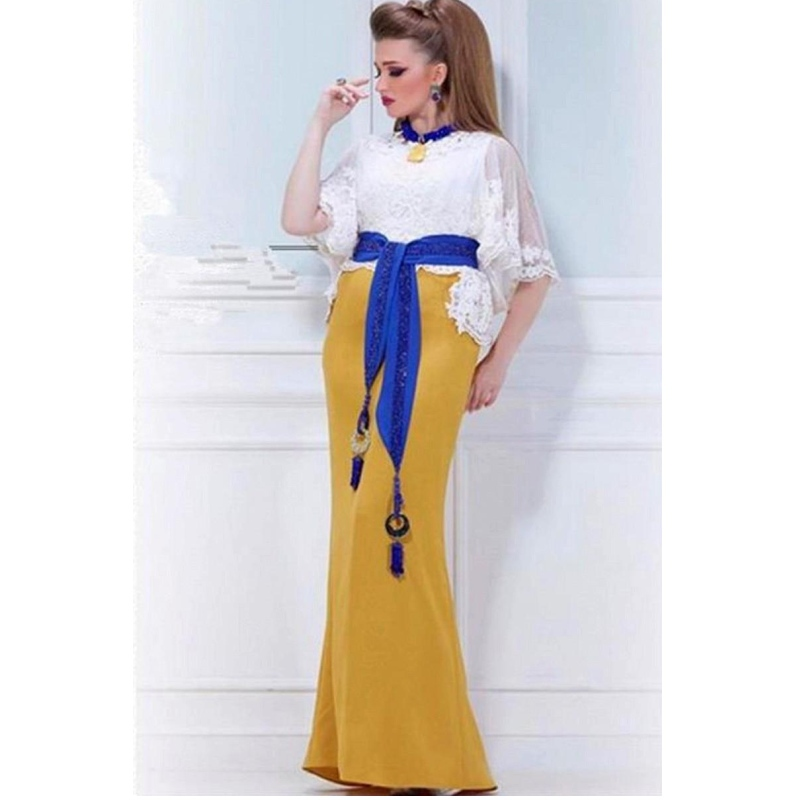 Get Quotations · 2015 Latest Arabic Kaftan White Lace Evening Dress Mermaid  O Neck Poet Sleeve Prom Dress Royal 8d3494371893