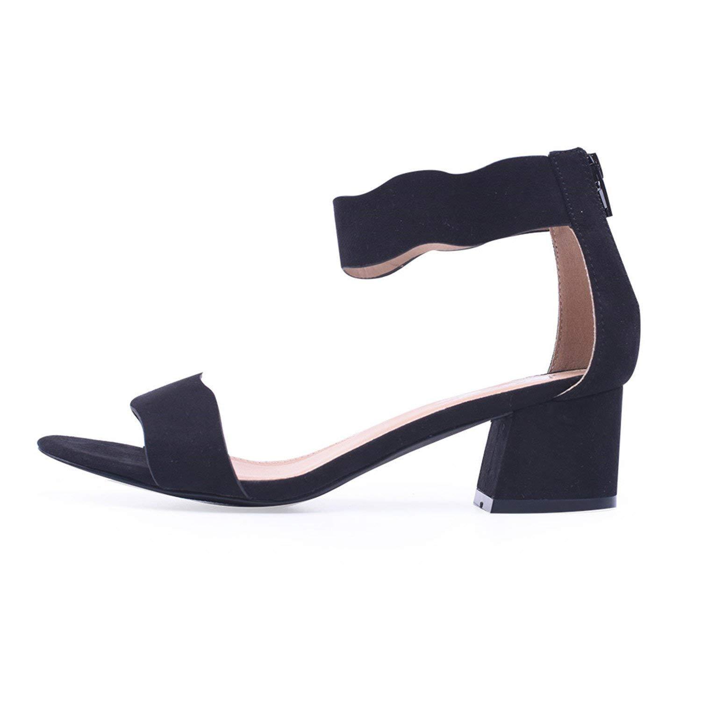 fc1bd4364e6 Get Quotations · Baolustre Women Sandals Open Toe Women s Sandals Low Block  Heel 5Cm Women Shoes Black Blue Gladiator