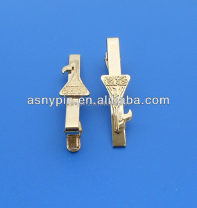Professional custom high quality qatar logo souvenir metal crafts gold tie clip