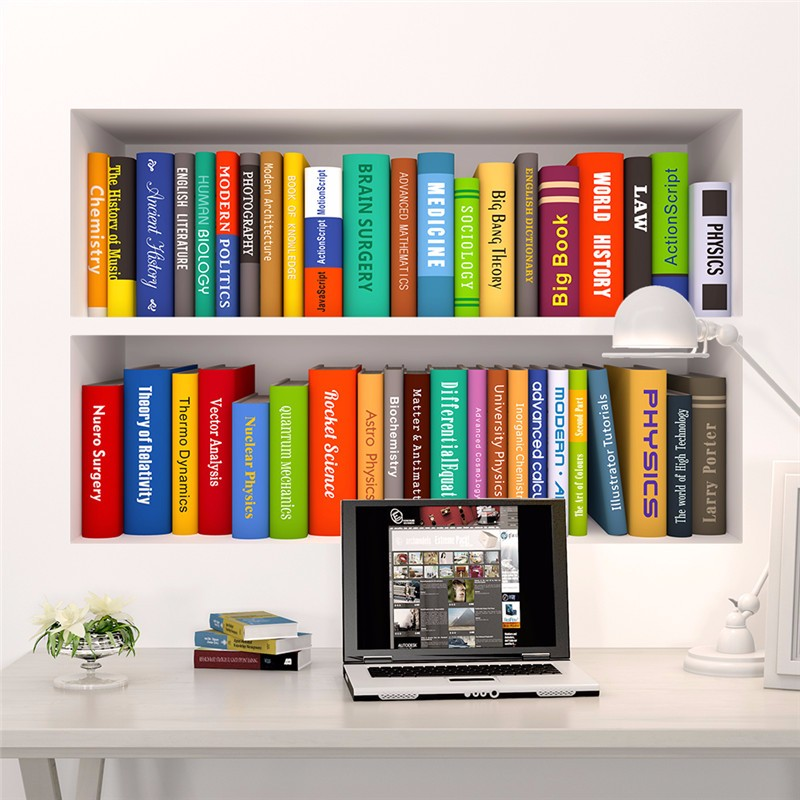 Colorful Book Room: Colorful English Books Bookshelf Wall Sticker For Living