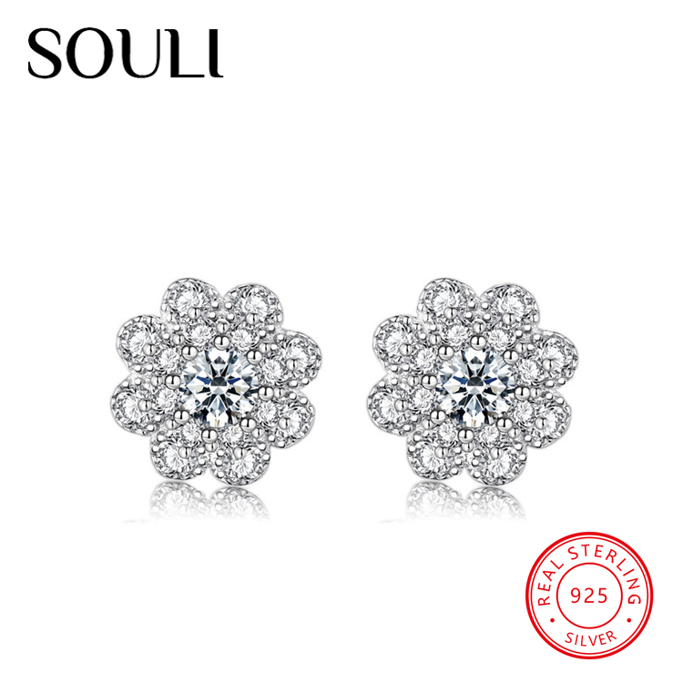 Snowflake Shaped S925 Sterling Silver Full Cubic Zirconia Bridal Stud Earrings