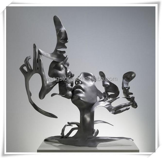 art contemporain d coration en acier inoxydable sculpture abstraite cinq droits de visages. Black Bedroom Furniture Sets. Home Design Ideas