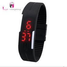 Hot Sale LED Light Silicone Rubber Wristband Watch With Noctilucent