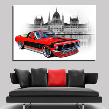 Hd Printed Vintage Car And Scenery Decor Canvas Painting For Wall Decoration