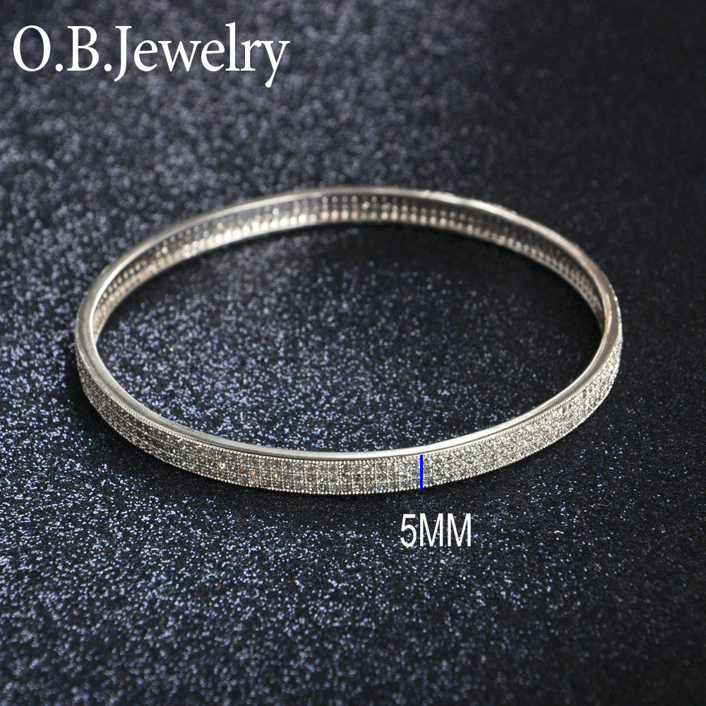 Round Shape Micro Pave Jewelry 925 Solid Sterling Silver Bangle