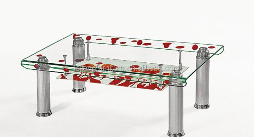 Modern design new glass top center table design glass for Teapoy table designs
