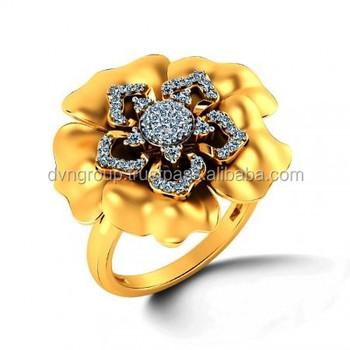 Gold Plate Ring Fashion Ring Big Ring Design Ring Cz Ring Setting