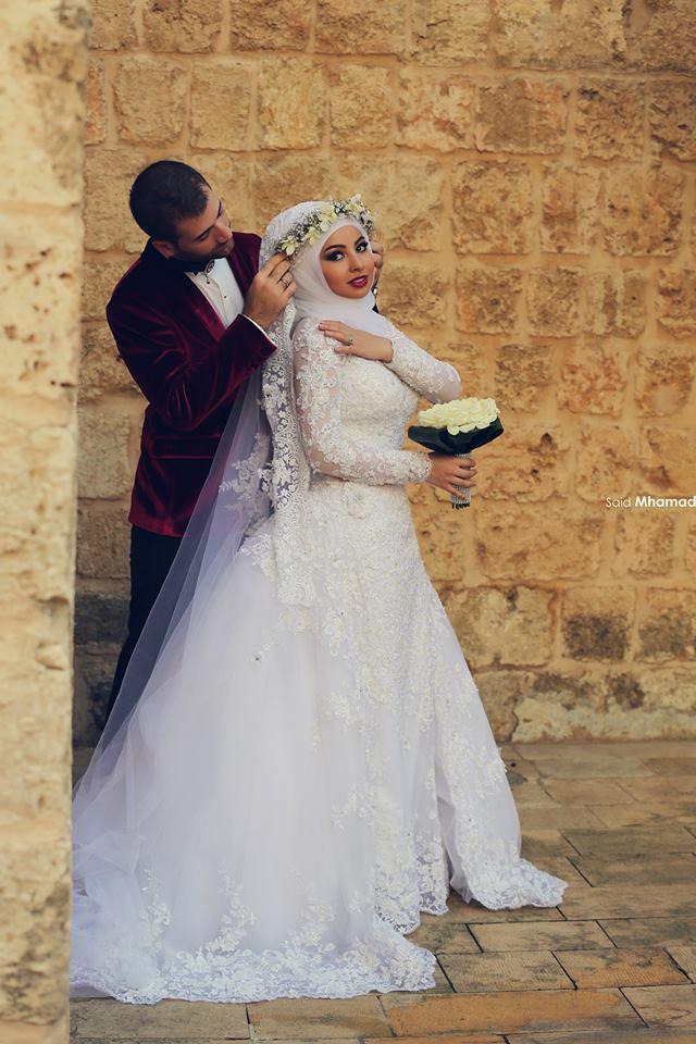 2015 Latest Long Sleeve Lace Removable Train Hijab Muslim Wedding Dresses