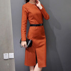 d81992f 2015 korean winter long dress clothes red slim dresses for women