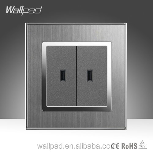 Double Usb Wall Socket Wallpad Hotel Luxury Silver Satin Metal Electrical Double 2 USB Wall Socket Outlet With USB Port