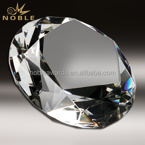 New Engraved Crystal Diamond Edge Circle Shaped Paperweight For Trophy Award