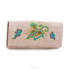 Folk Art Style Hand Embroidered Floral Clutch Purse Card Holder Bag
