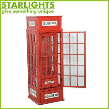 Red Antique London Public Telephone Booth Decoration For Made By Chinese