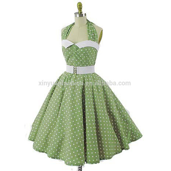 4562ae75ec Vintage Style Girls Green White Polka Dot Swing Dress - Buy Girls ...
