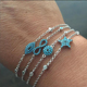 Factory cheap wholesale micro pave turquoise evil eye/infininfinity/star shap cheap bracelet silver