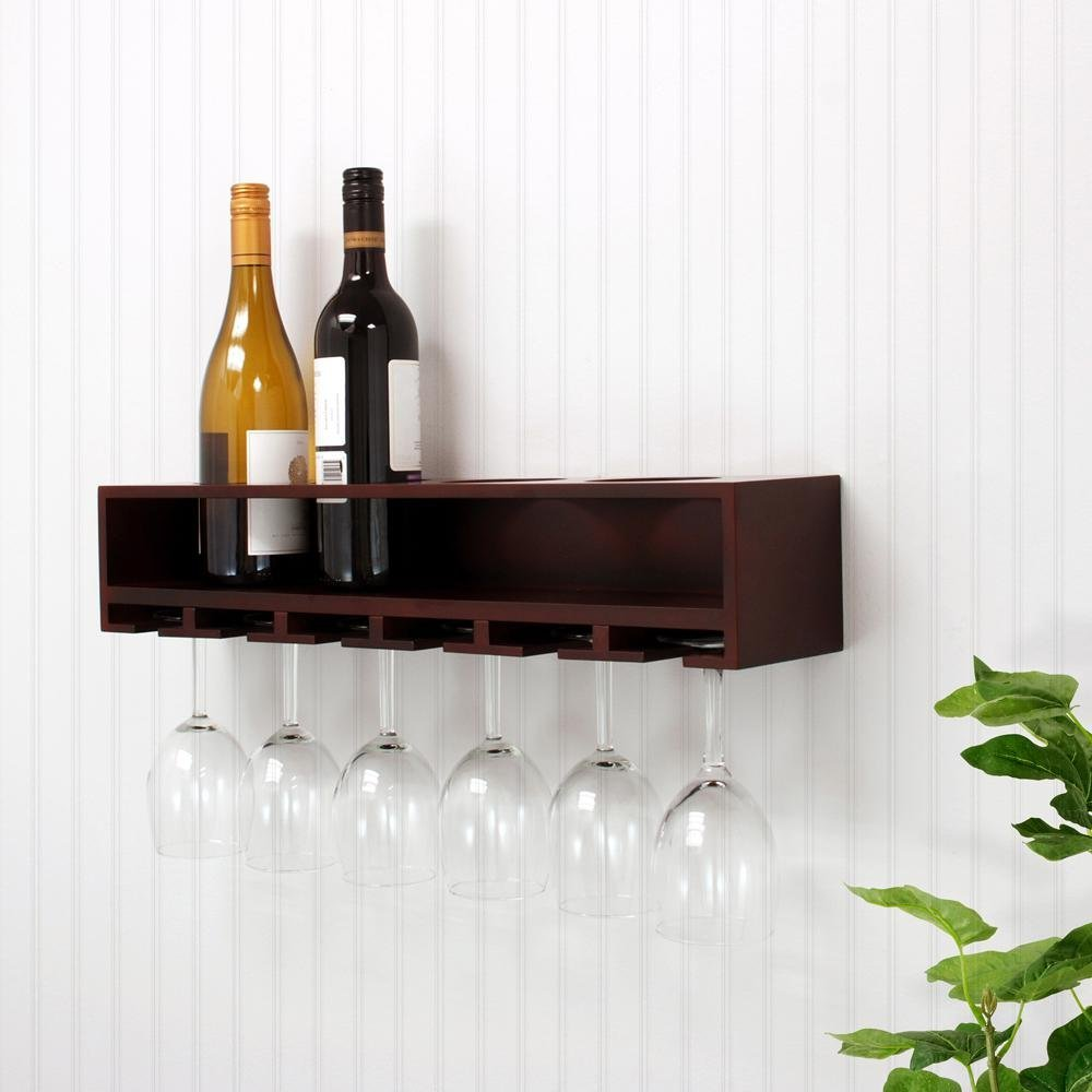 4 Bottles Wood Wall Mounted Wine Glass And Bottle Holder Display