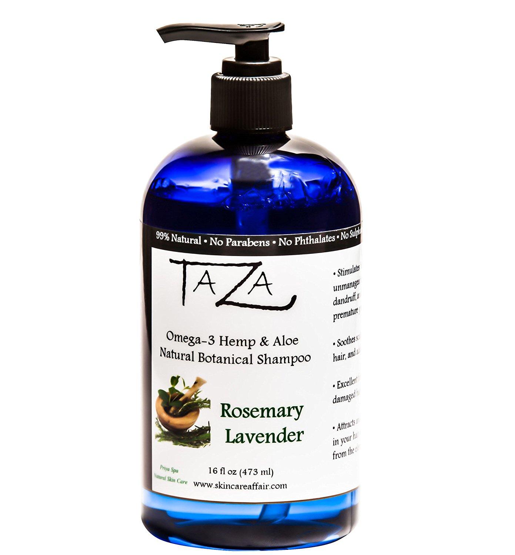 Premium Taza Natural Omega-3 Hemp & Aloe Rosemary Lavender Botanical Shampoo, 16 fl oz ♦ For Healthy, Silky Hair ♦ Contains: Aloe Leaf Juice, Hemp Seed Oil, Pro Vitamin B5, White Willow Bark
