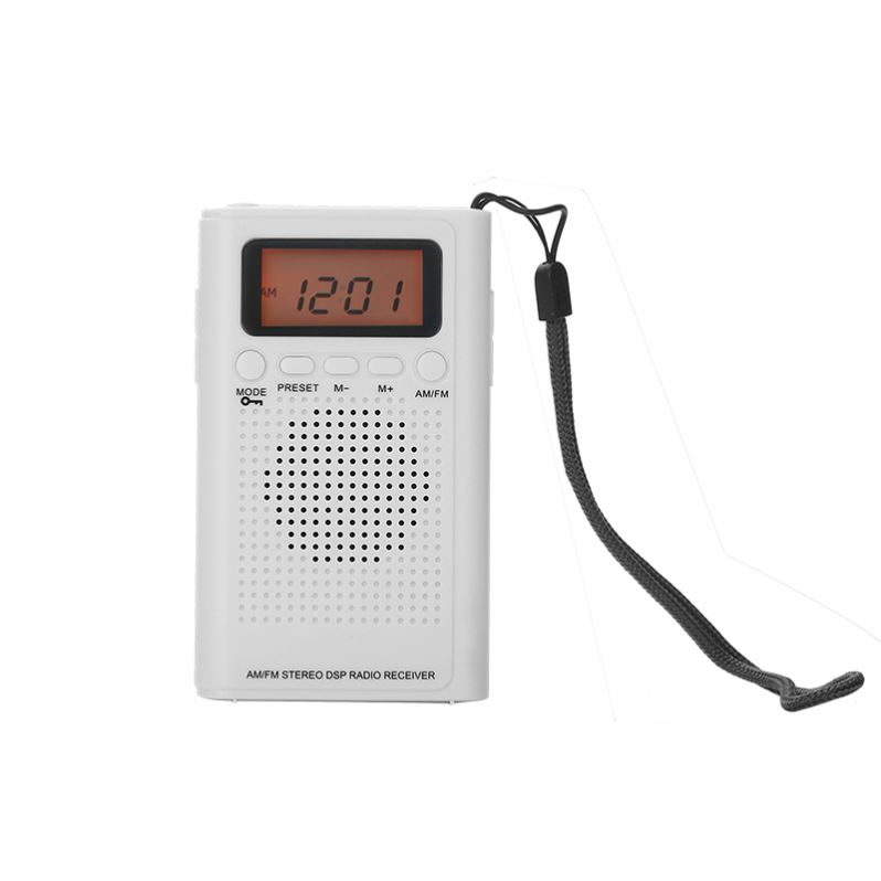 Pocket size digital radio con display LCD per lo sport piccola radio bianco